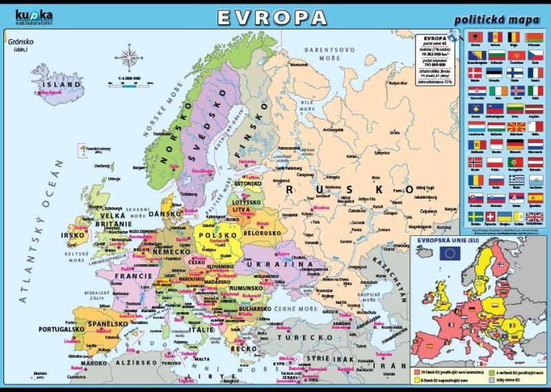 Evropa Politicka Mapa 100 X 70 Cm Ucebnicemapy Cz