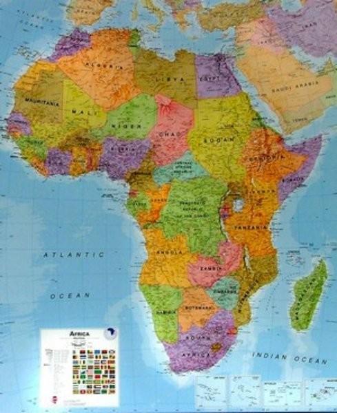 Afrika Nastenna Mapa 100 X 120 Cm Ucebnicemapy Cz