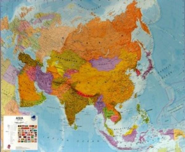 Asie Nastenna Mapa 120 X 100 Cm Ucebnicemapy Cz