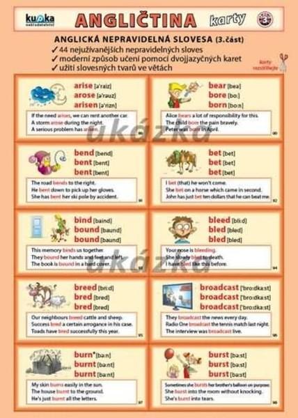 Angličtina karty 3 - anglická nepravidelná slovesa (skládačka A5, 8 stran)