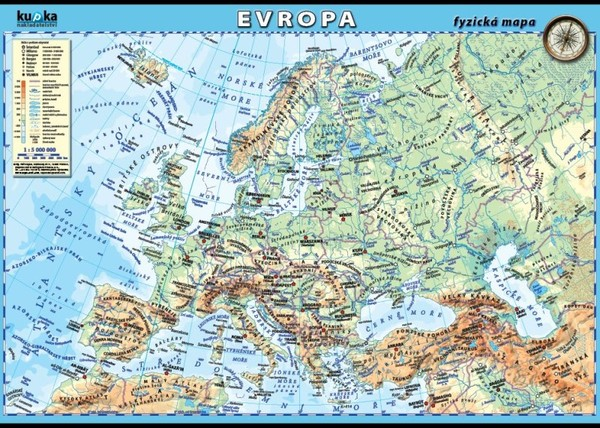 Evropa - fyzická mapa (100 x 70 cm)