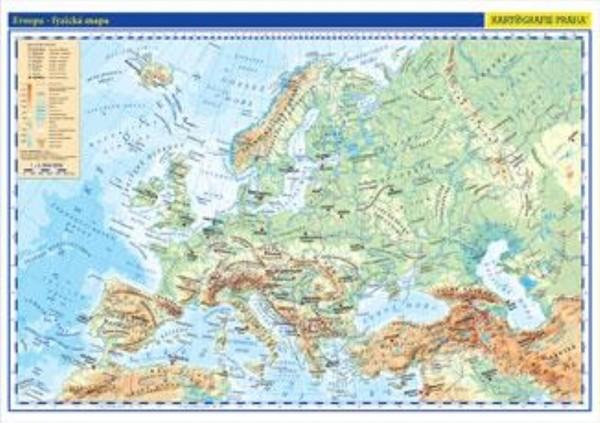 Evropa - nástěnná fyzická mapa školní