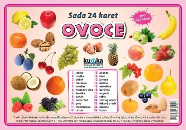 Ovoce - sada 24 karet pro nejmenší (velké A5)