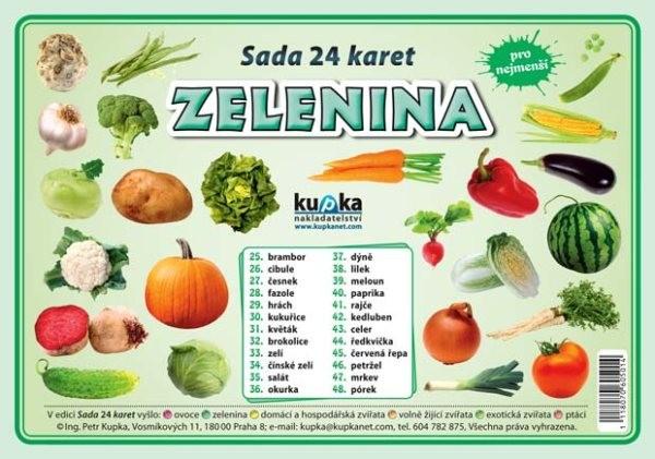 Zelenina - sada 24 karet pro nejmenší (velké A5)