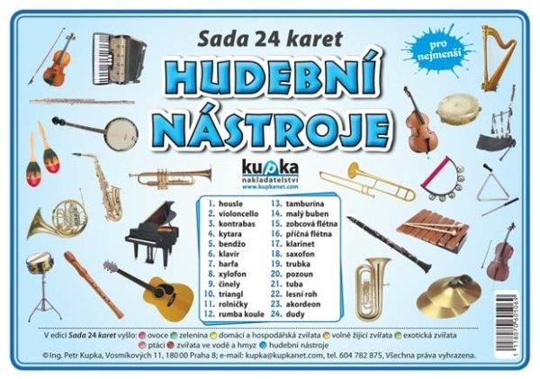 Hudební nástroje - sada 24 karet pro nejmenší (velké A5)