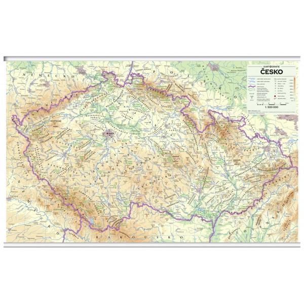 Česko - nástěnná mapa reliéf a povrch