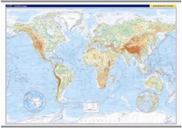 Svět - nástěnná fyzická mapa (1 360 × 960 mm)