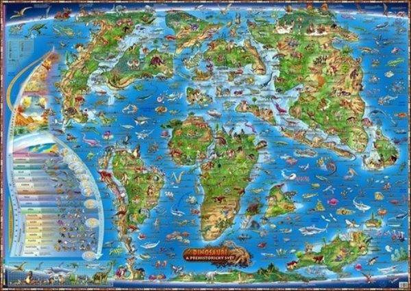 Dětská mapa - Dinosauři a prehistorický svět (97 x 137 cm)