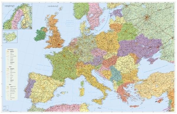 Evropa - podrobná silniční síť (135 x 100 cm)