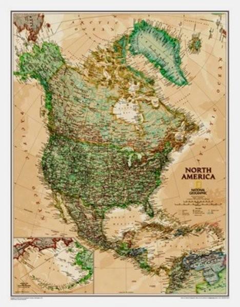 Severní Amerika - nástěnná mapa (National Geographic)