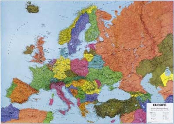 Obří mapa Evropy - nástěnnná mapa (1,7 x 1,25 m)