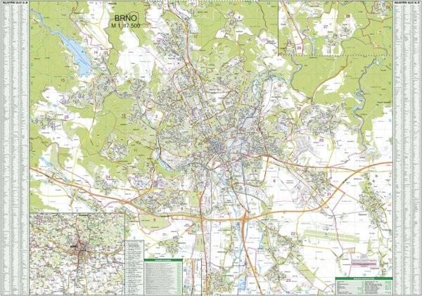 Brno - nástěnný plán města (135 x 95 cm)