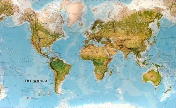 Obří svět zeměpisný (197 x 122 cm)