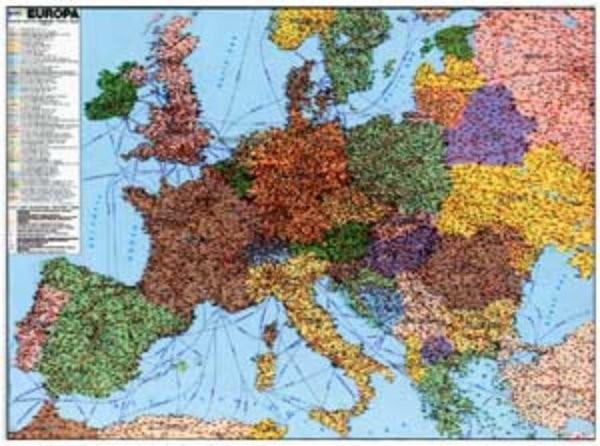 Evropa železniční - nástěnná mapa (113 x 83 cm)