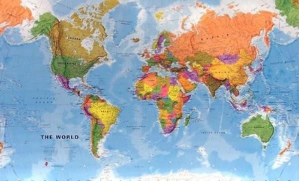 Obří svět politický - nástěnná mapa (200 x 120 cm)
