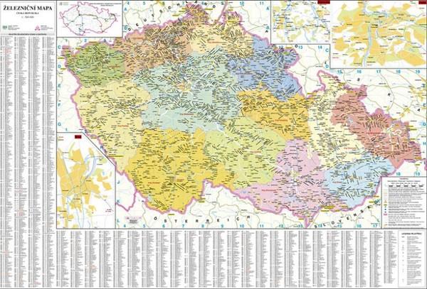 Česká republika - železniční nástěnná mapa (113 x 83 cm)