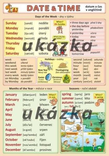 Datum a čas v angličtině - Date and time (oboustranná tabulka, A5)
