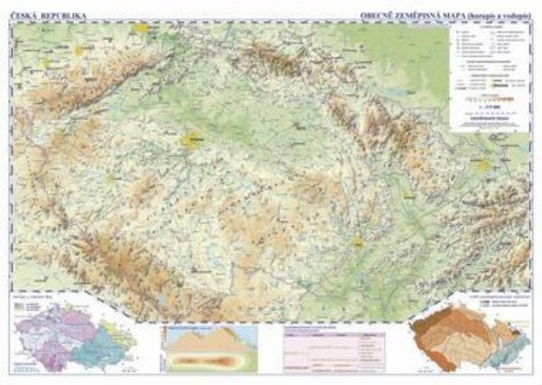 Česká republika - nástěnná obecně zeměpisná mapa školní (1360 x 960 mm)