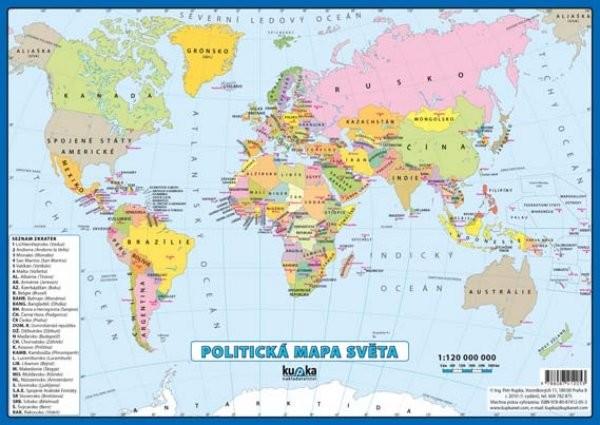 Politická mapa světa (oboustranné lamino, A4)