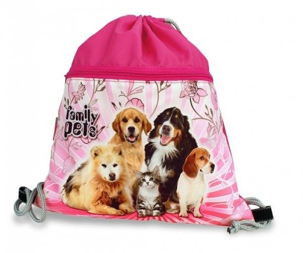 Sáček na cvičky Family pets (velký s kapsou na zip)