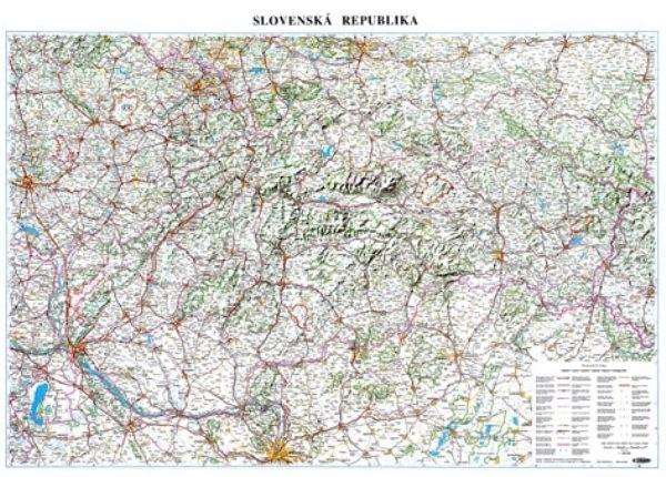 Slovenská republika - silniční nástěnná mapa (120 x 83 cm)