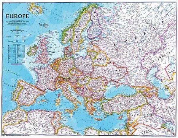 Evropa - nástěnná mapa National Geographic (modrá)