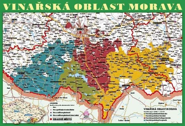 Vinařství Moravy - nástěnná mapa