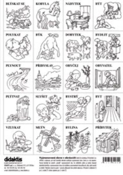 Vyjmenovaná slova v obrázcích (kartičky k vystřihávání a vybarvení)