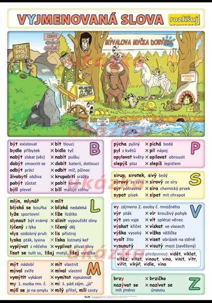 Vyjmenovaná slova - rozlišuj (nástěnná tabule 100x70 cm)