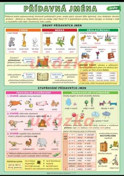 Přídavná jména - druhy (nástěnná tabule)