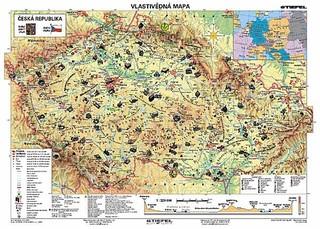 Vlastivědná mapa ČR - 100x70 cm