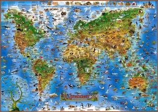 Dětská mapa - Živočichové světa (nástěnná, 97x137 cm)