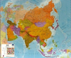Asie - nástěnná mapa (120 x 100 cm)