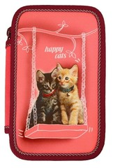 Školní penál Happy cats (třípatrový)