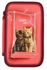 Školní penál Happy cats (dvoupatrový)